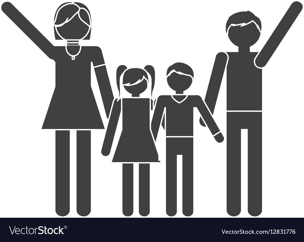 Silhouette family together members traditional vector image