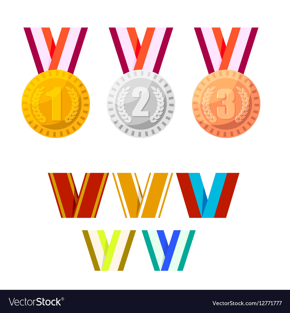 Set of champion medals gold silver and bronze vector image