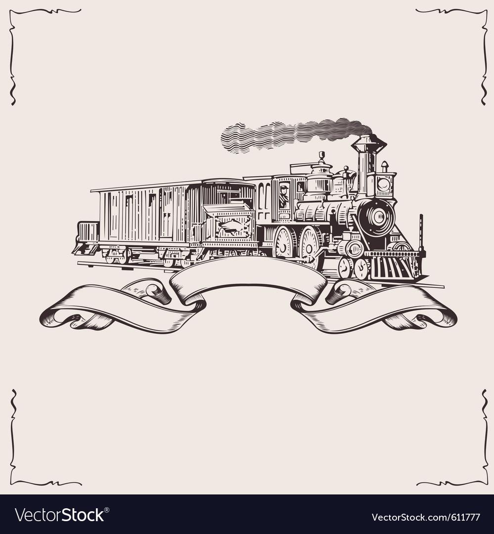 Vintage locomotive banner vector image