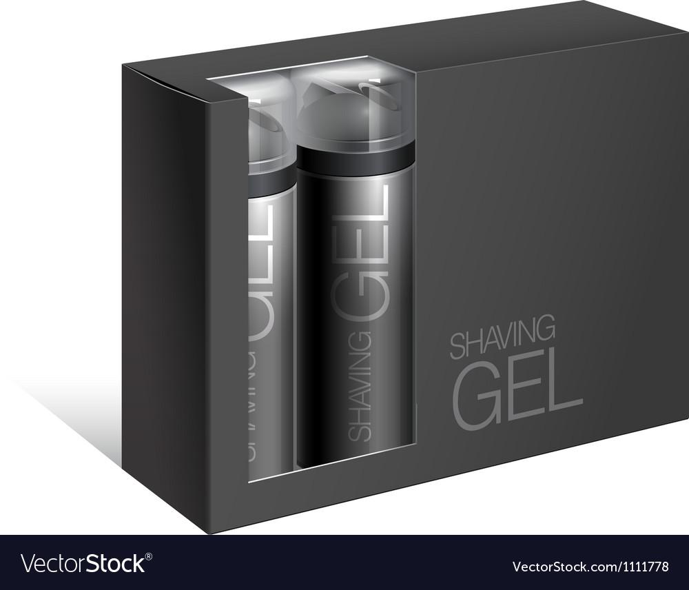 Black Gift Package Cardboard Box vector image