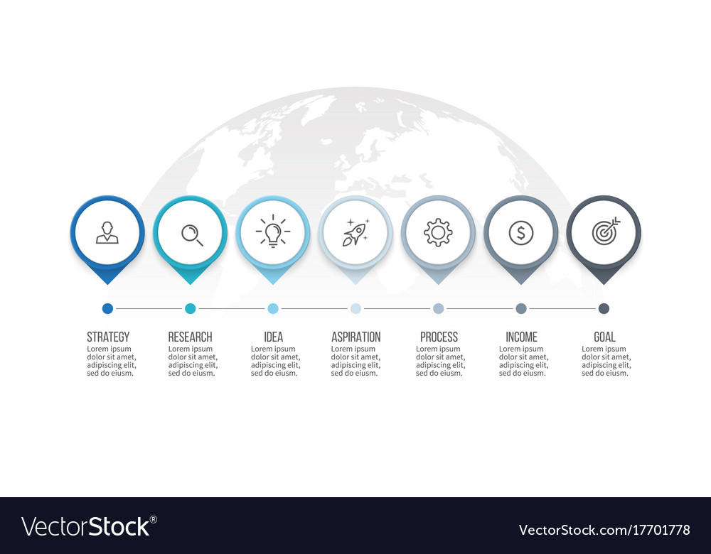 Business process timeline infographics with 7 vector image