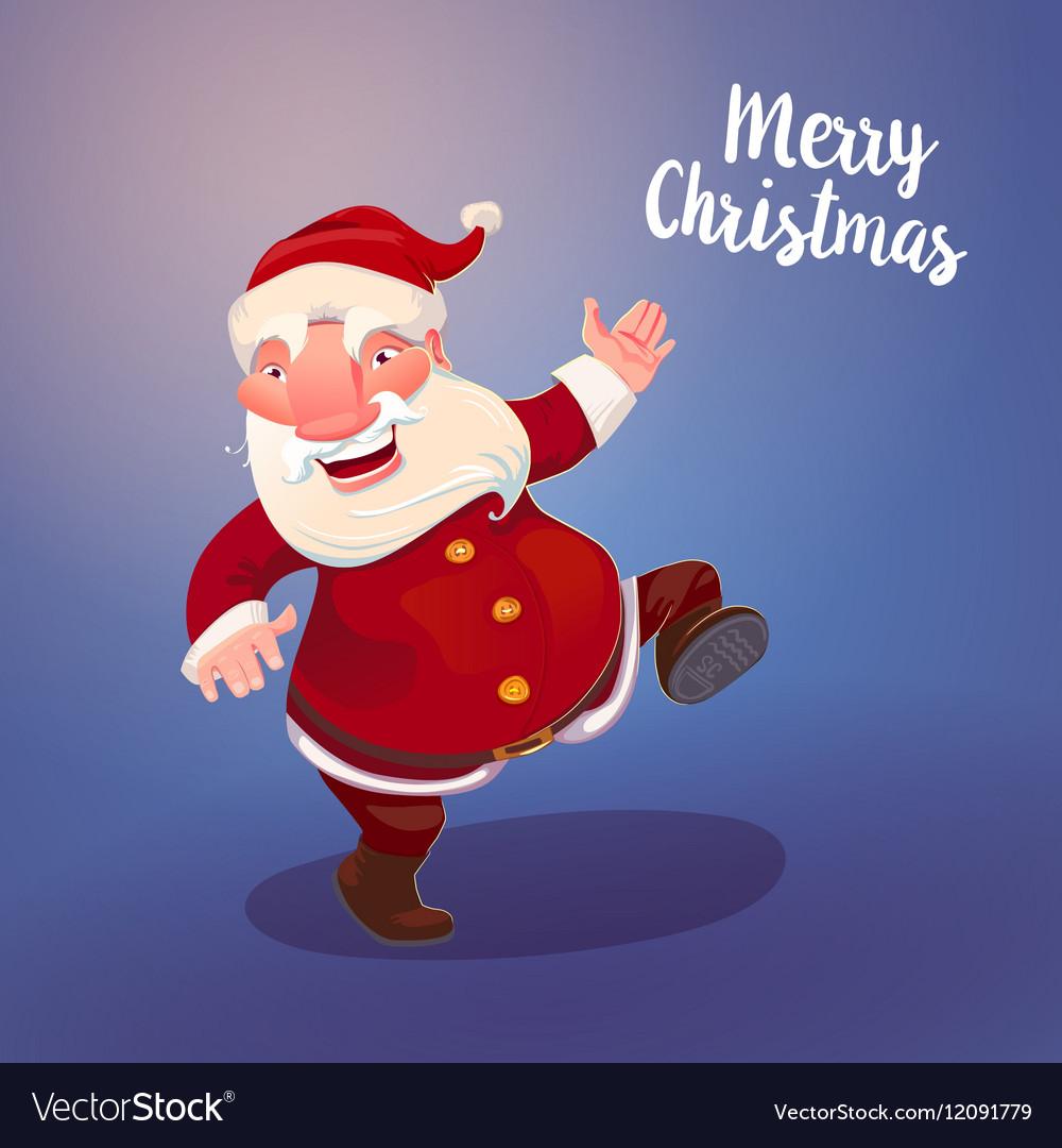 Cute Santa on vintage blue backdrop vector image