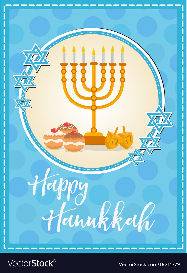 Happy chanukah flyer erkalnathandedecker happy hanukkah greeting card flyer poster vector image m4hsunfo