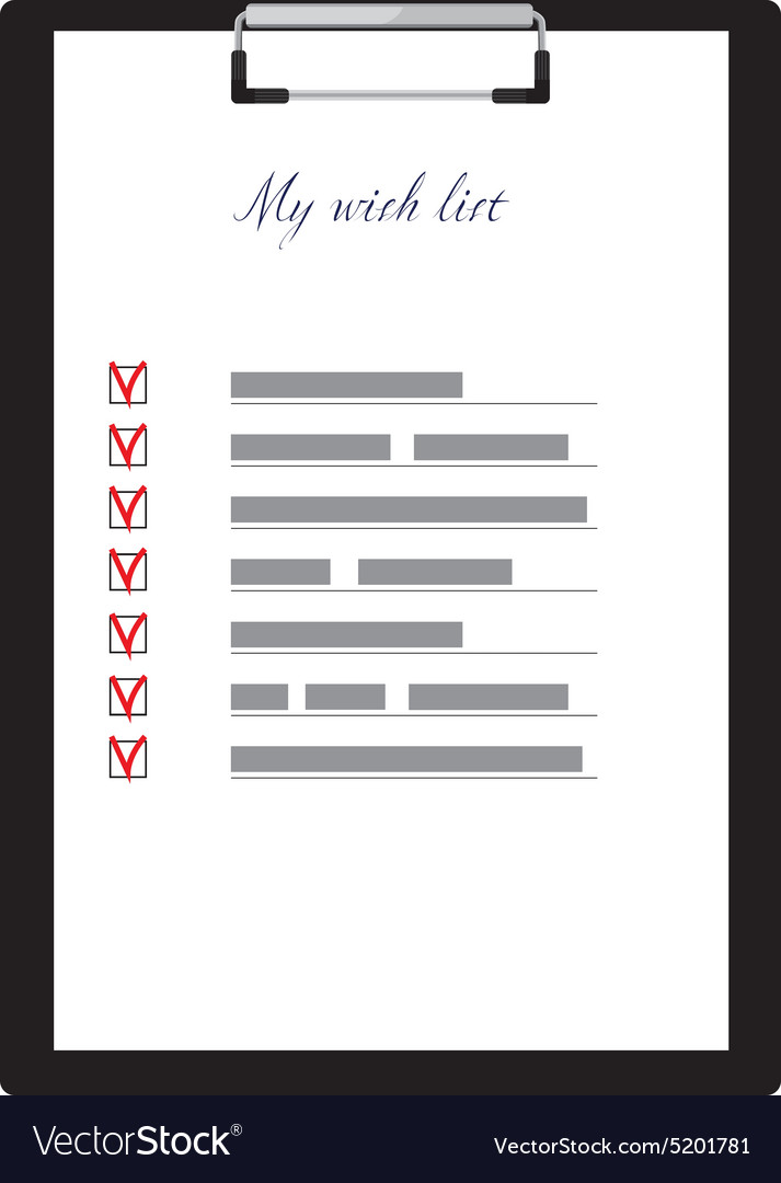 Clipboard and wish list vector image