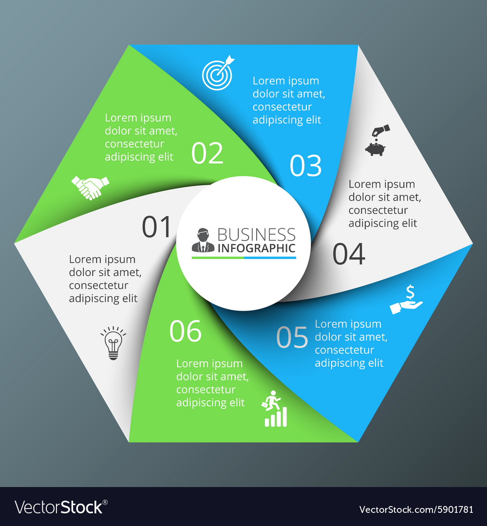 Spiral hexagon for infographic vector image