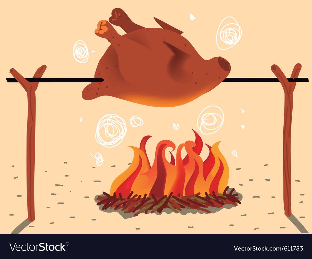 Roasted chicken. stock vector. Illustration of image ...  Roast Chicken Vector