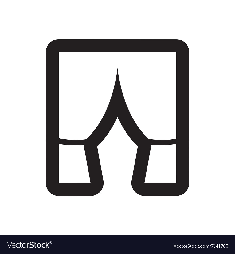 Flat Icon In Black And White Style Curtain Vector Image