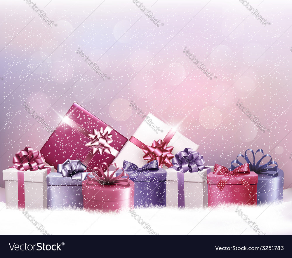 Christmas holiday background with presents vector image