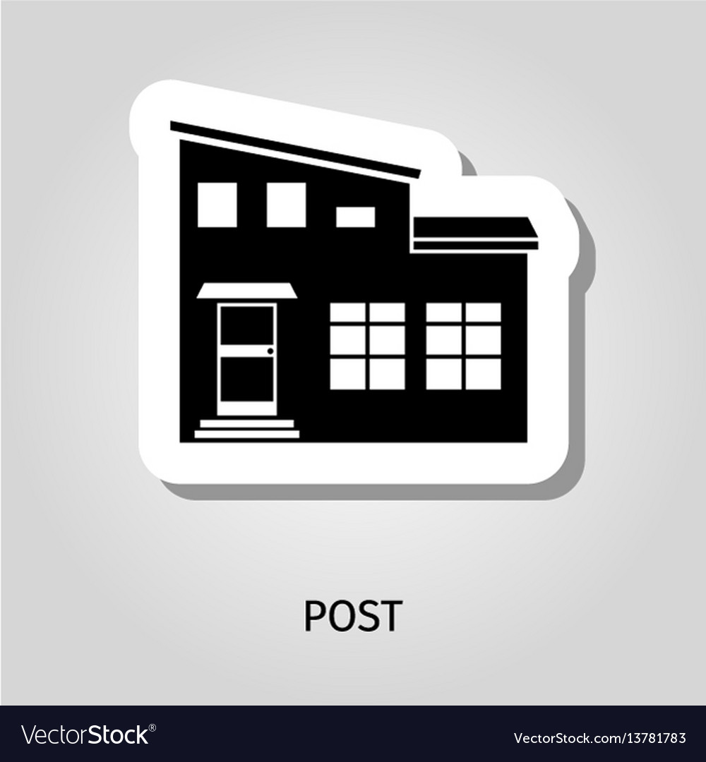 Post black silhouette building sticker vector image