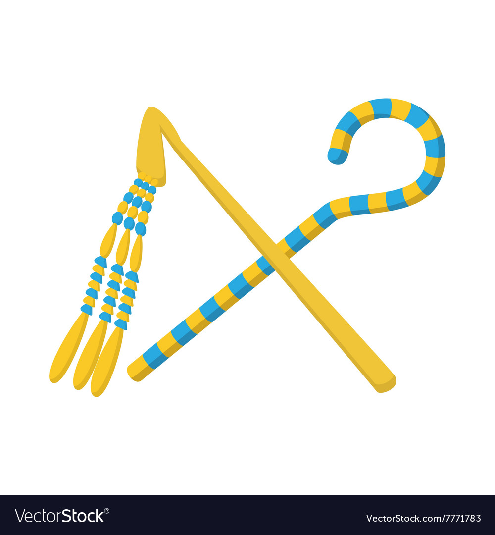 Rod and whip of Pharaoh icon cartoon style vector image