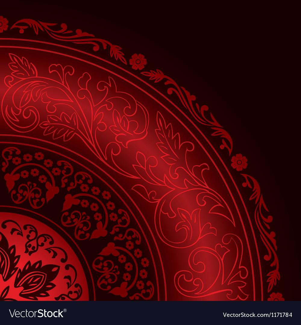 Decorative vintage red background vector image