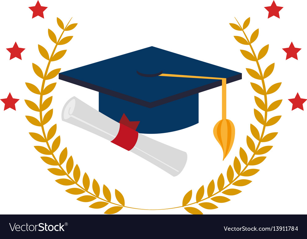 Crown leaves with graduation cap and certificate vector image
