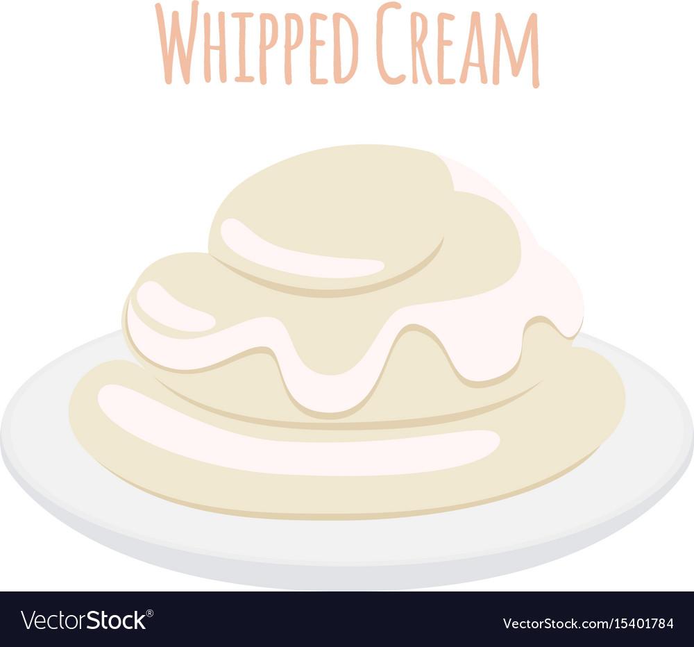 Whipped cream milk product dairy sweet yogurt vector image