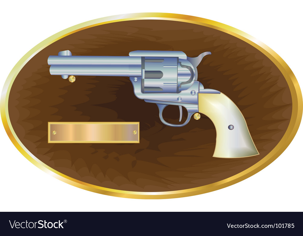 Gun on plaque vector image