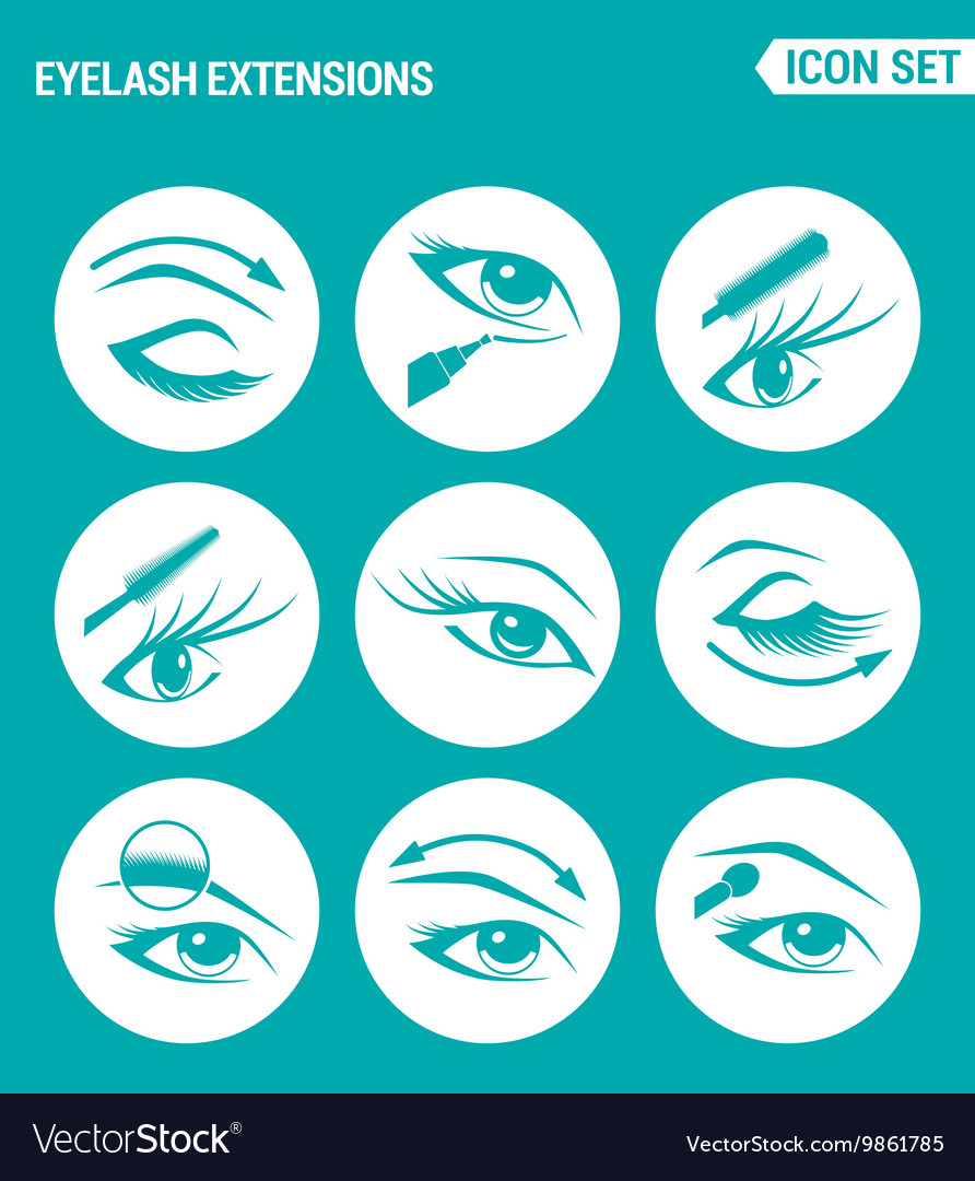 Set of round icons white Eyelash extensions vector image