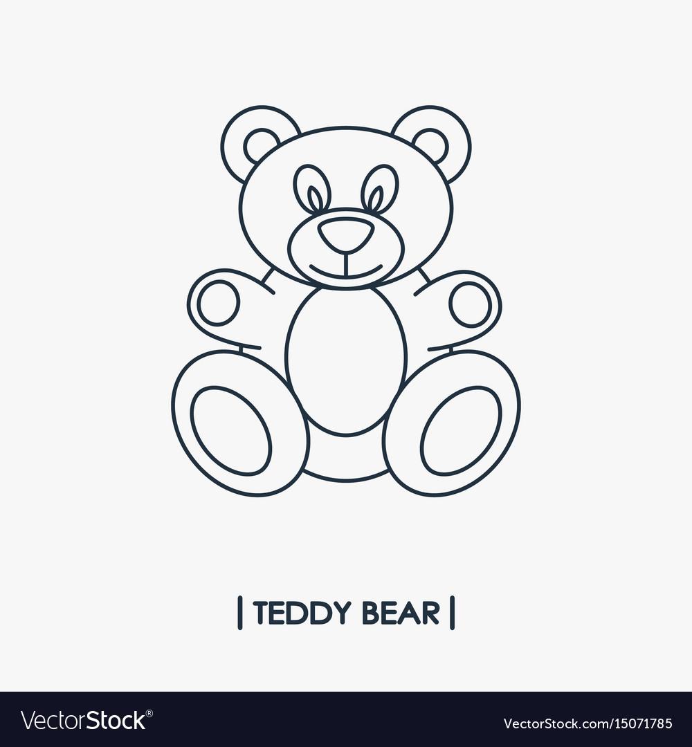 Teddy bear outline icon vector image