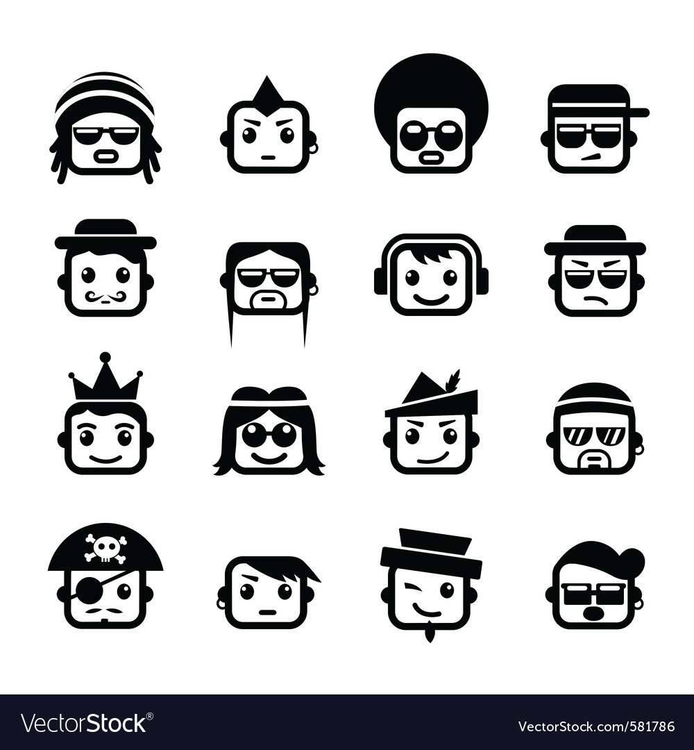 Smiley faces men characters vector image