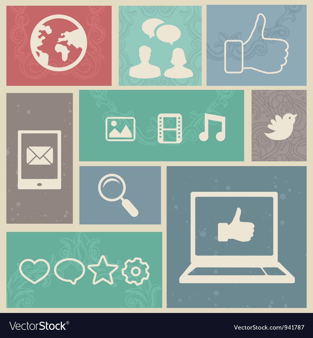 Set with vintage social media labels - vector image