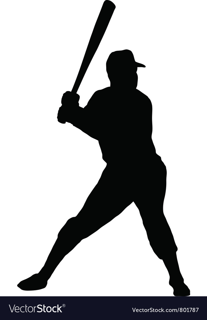baseball player silhouette royalty free vector image