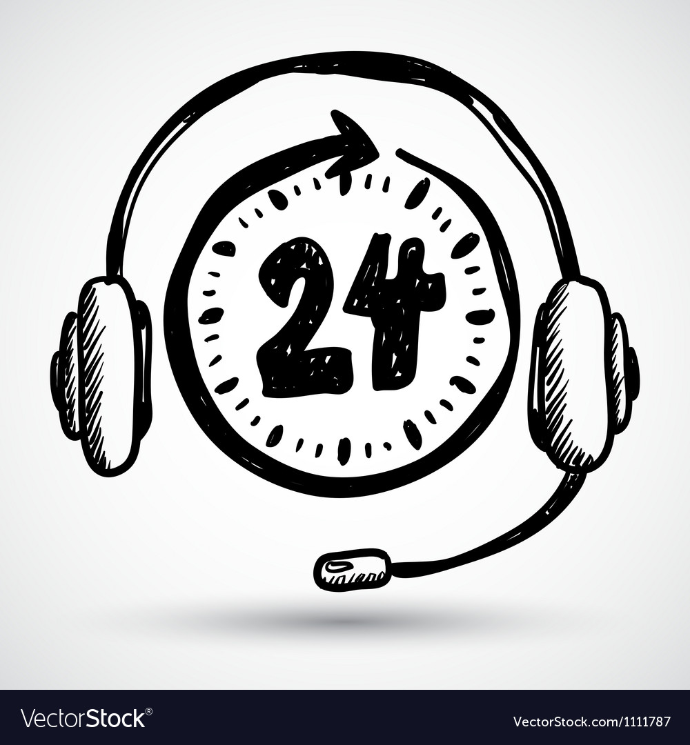 Support - around the clock or 24 hours vector image