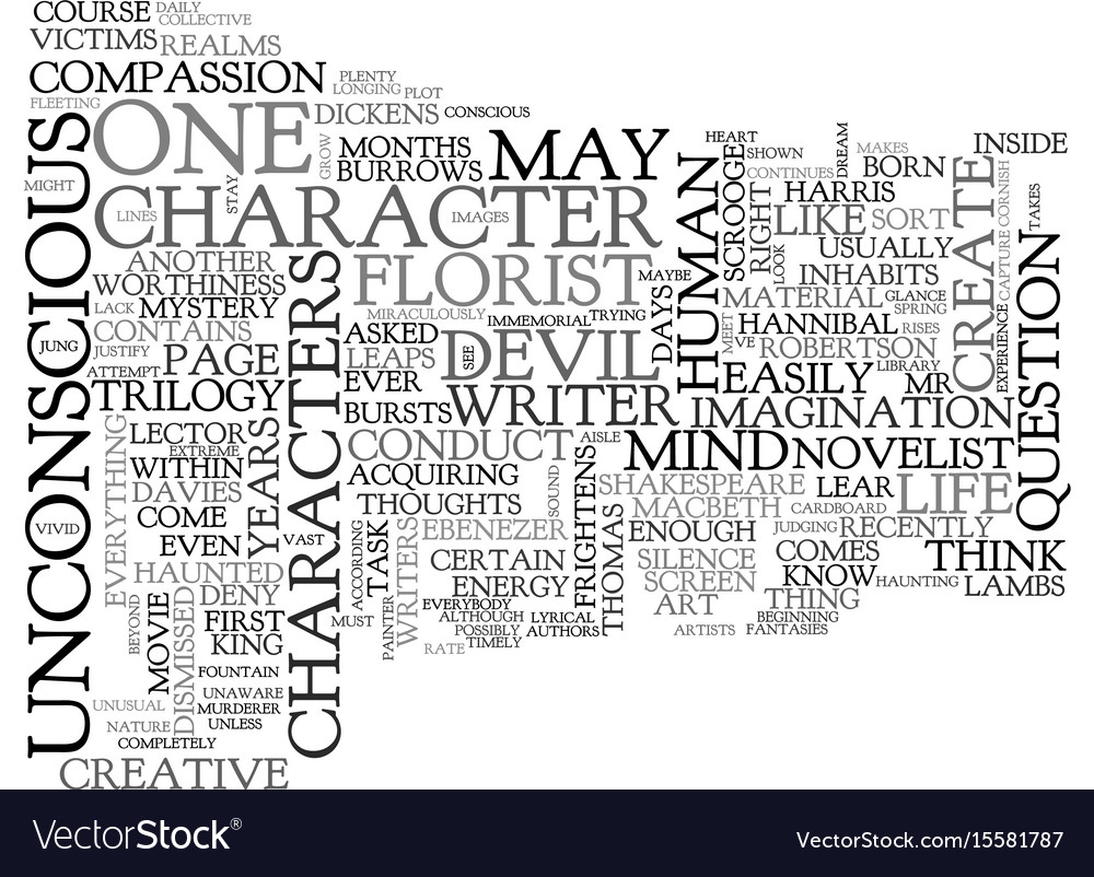 Where are a novelist s characters born text word vector image