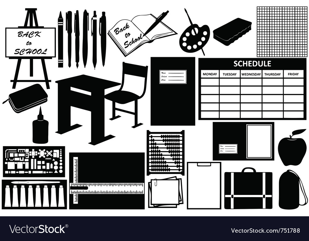 Different objects for school vector image