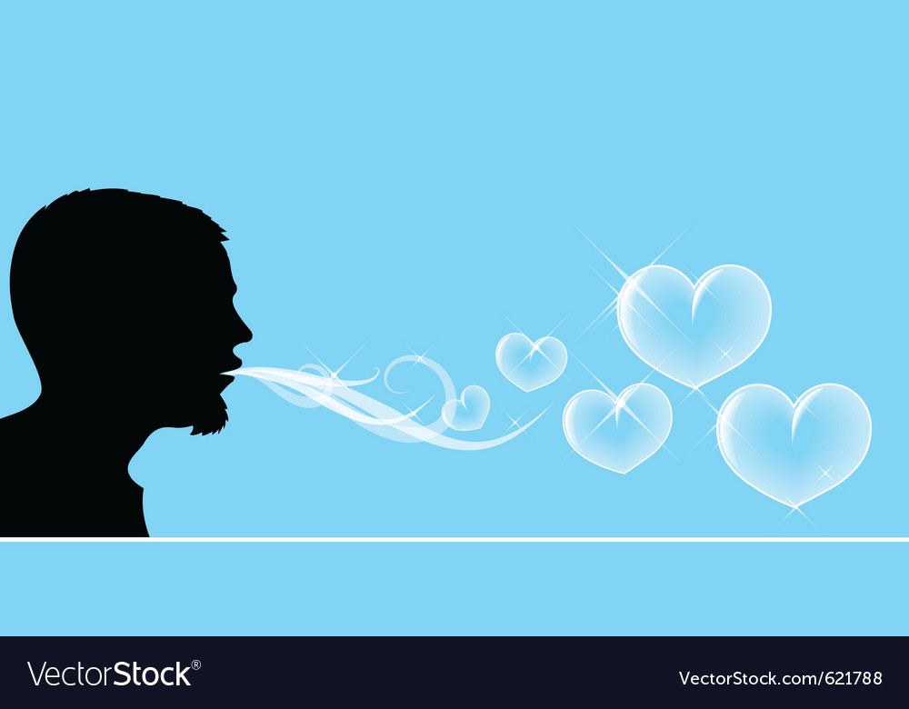 Blowing soap hearts vector image