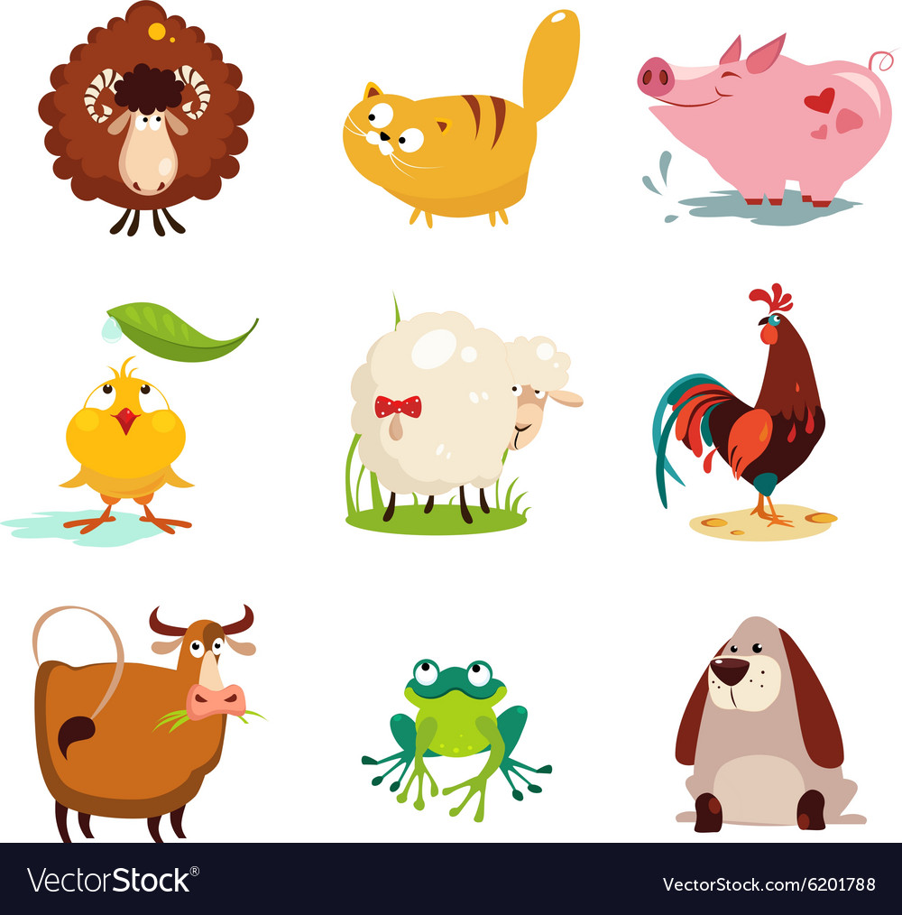 Farm Animal and Bird Collection Set vector image