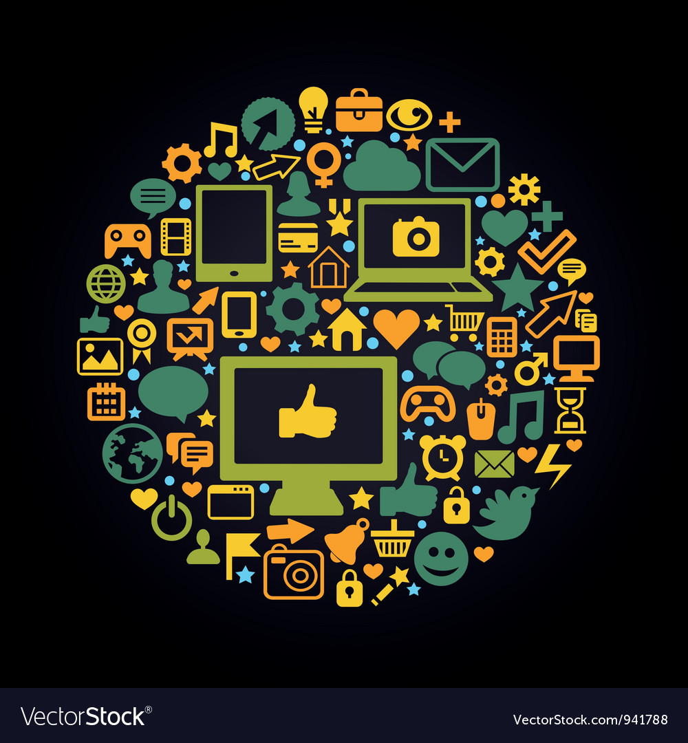 Round social media concept - with technology icons vector image