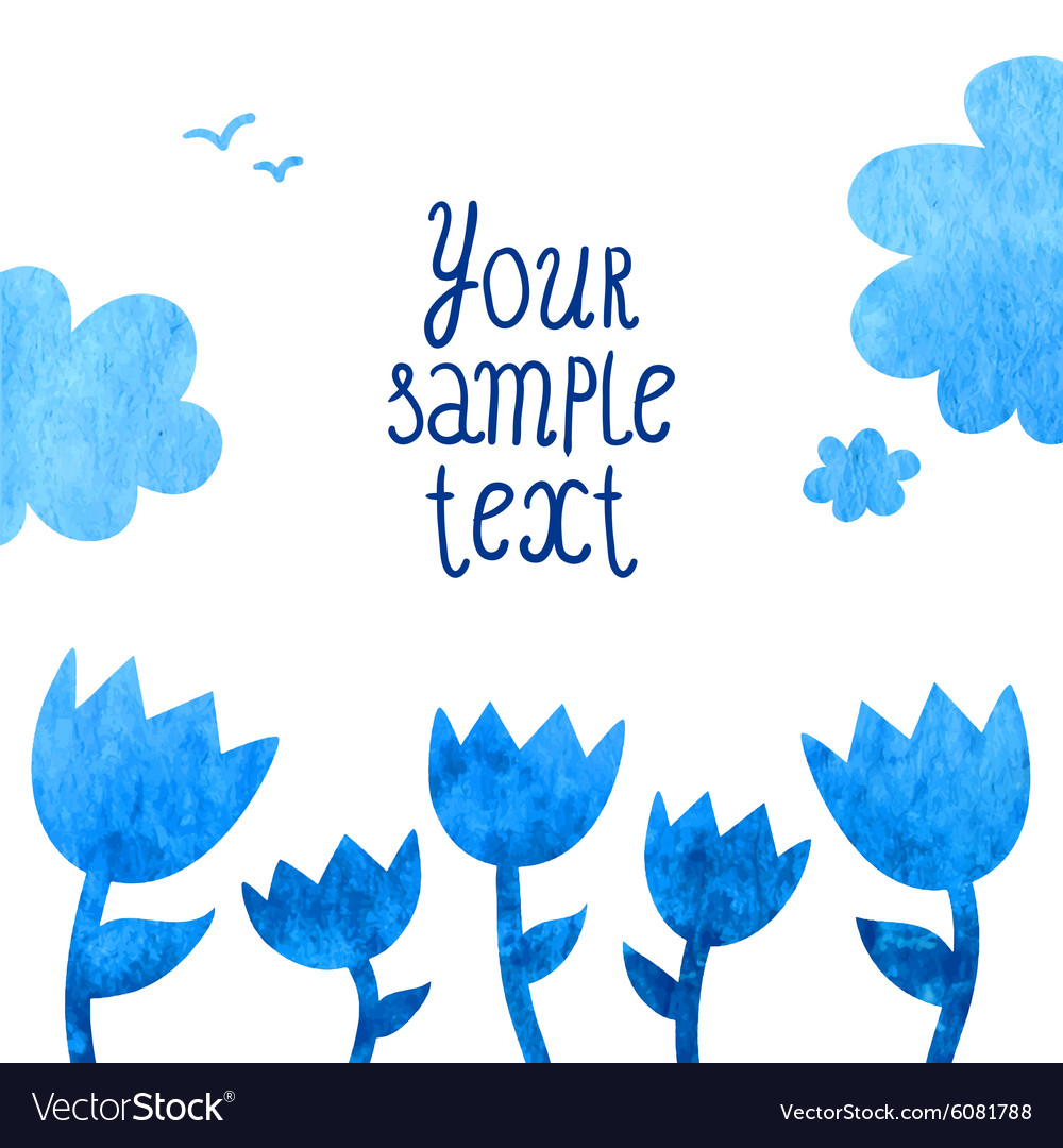 Watercolor background with blue flowers vector image