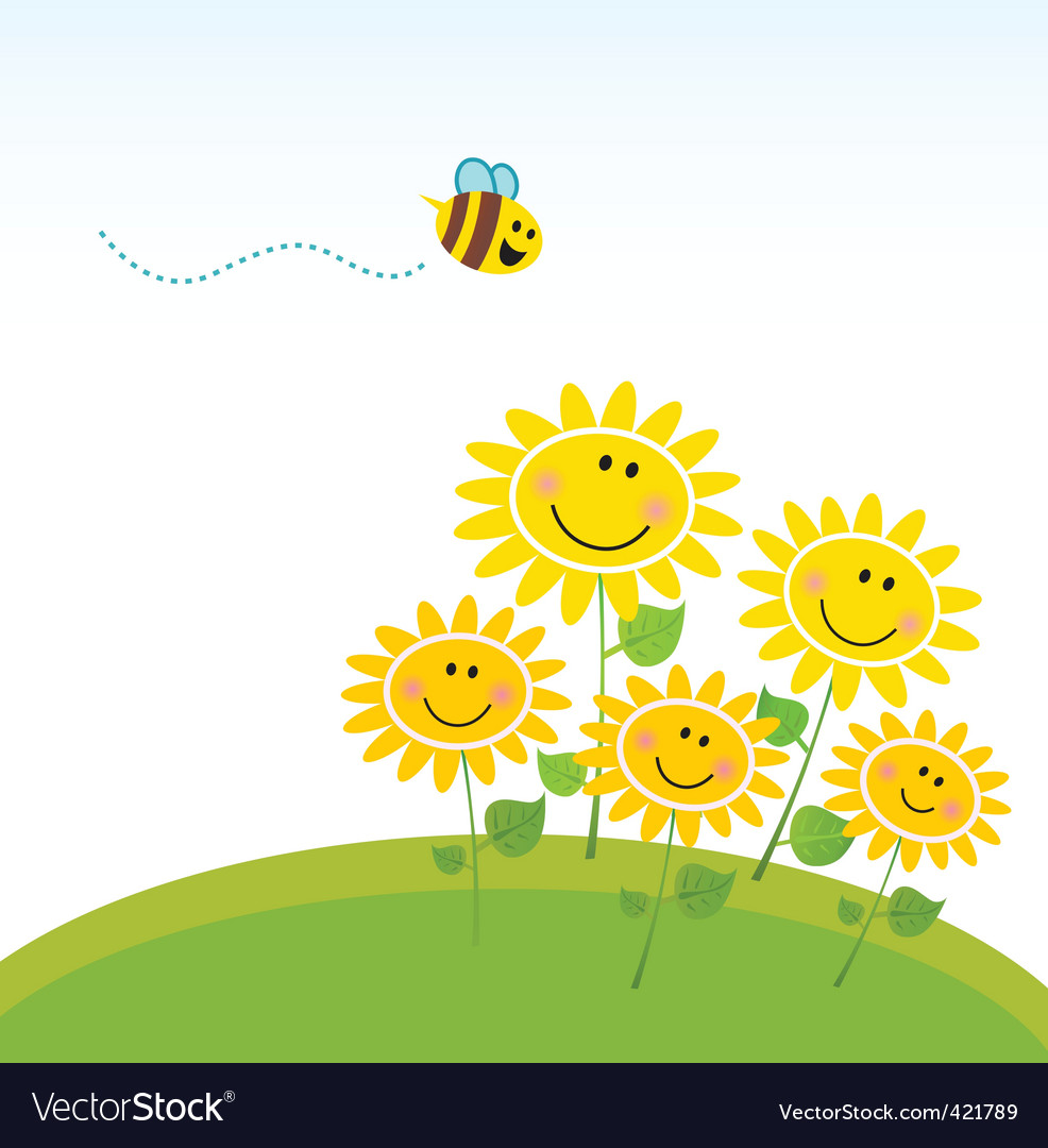 Cute honey bee with flowers vector image