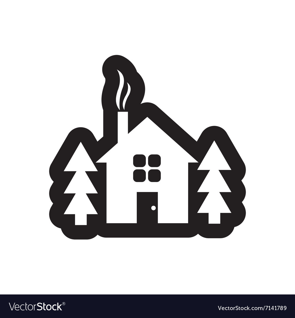 Flat icon in black and white style house forest