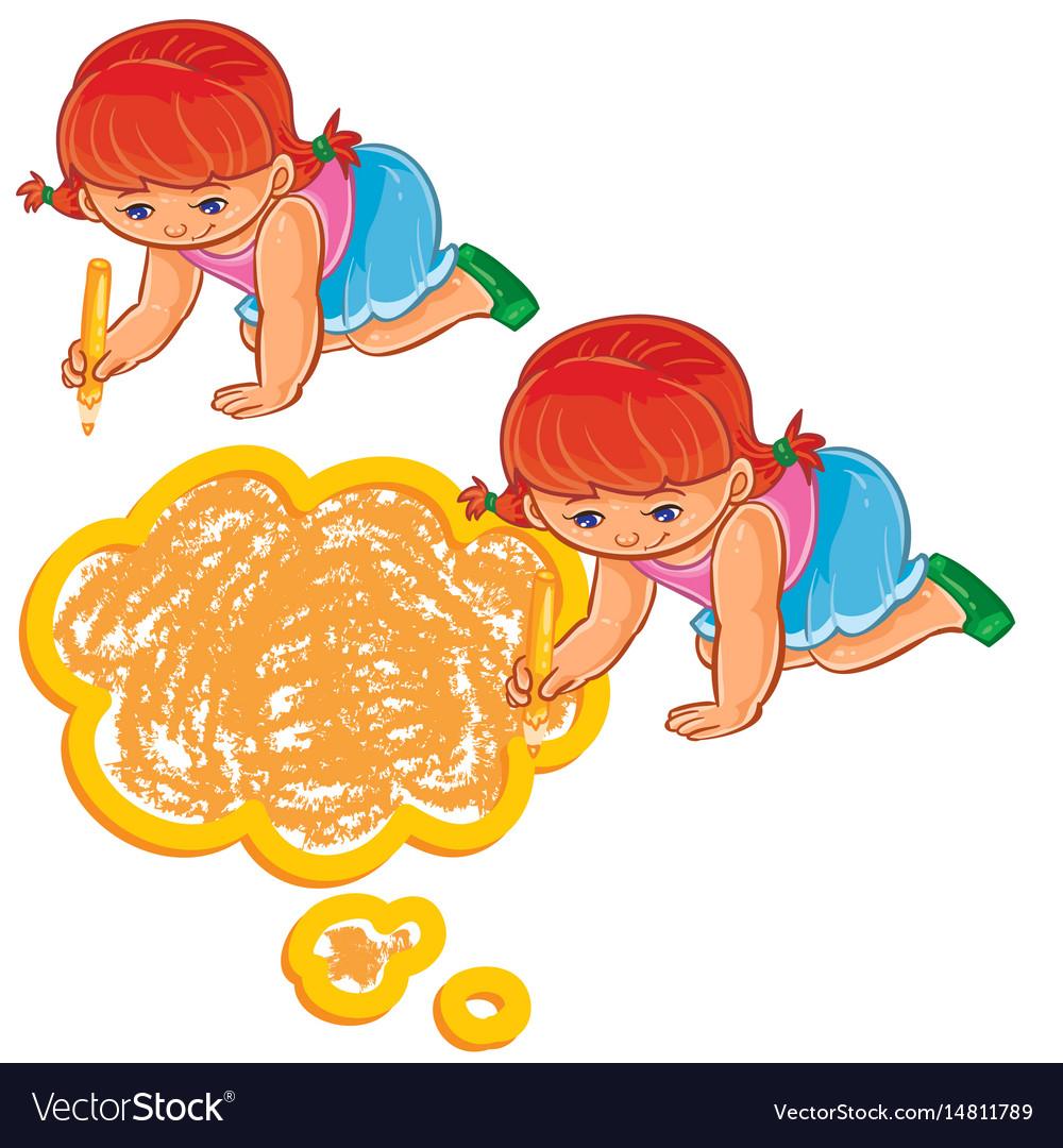Small girl draw a speech bubble vector image