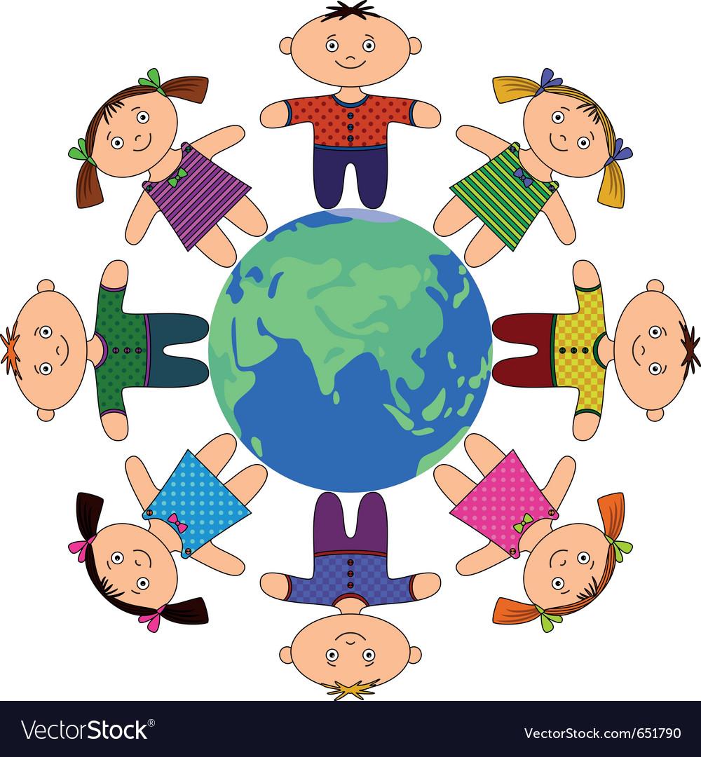 Children standing around earth vector image