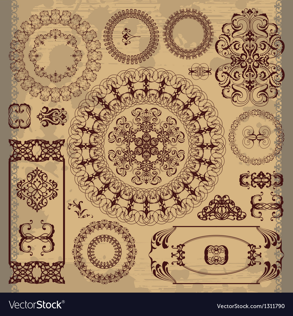 Arabic pattern on brown background vector image
