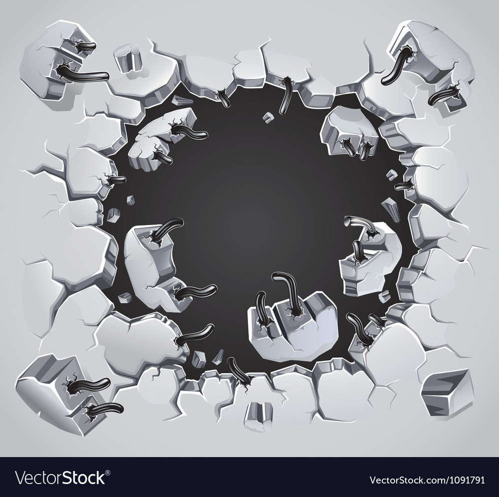 Old Plaster wall damage vector image