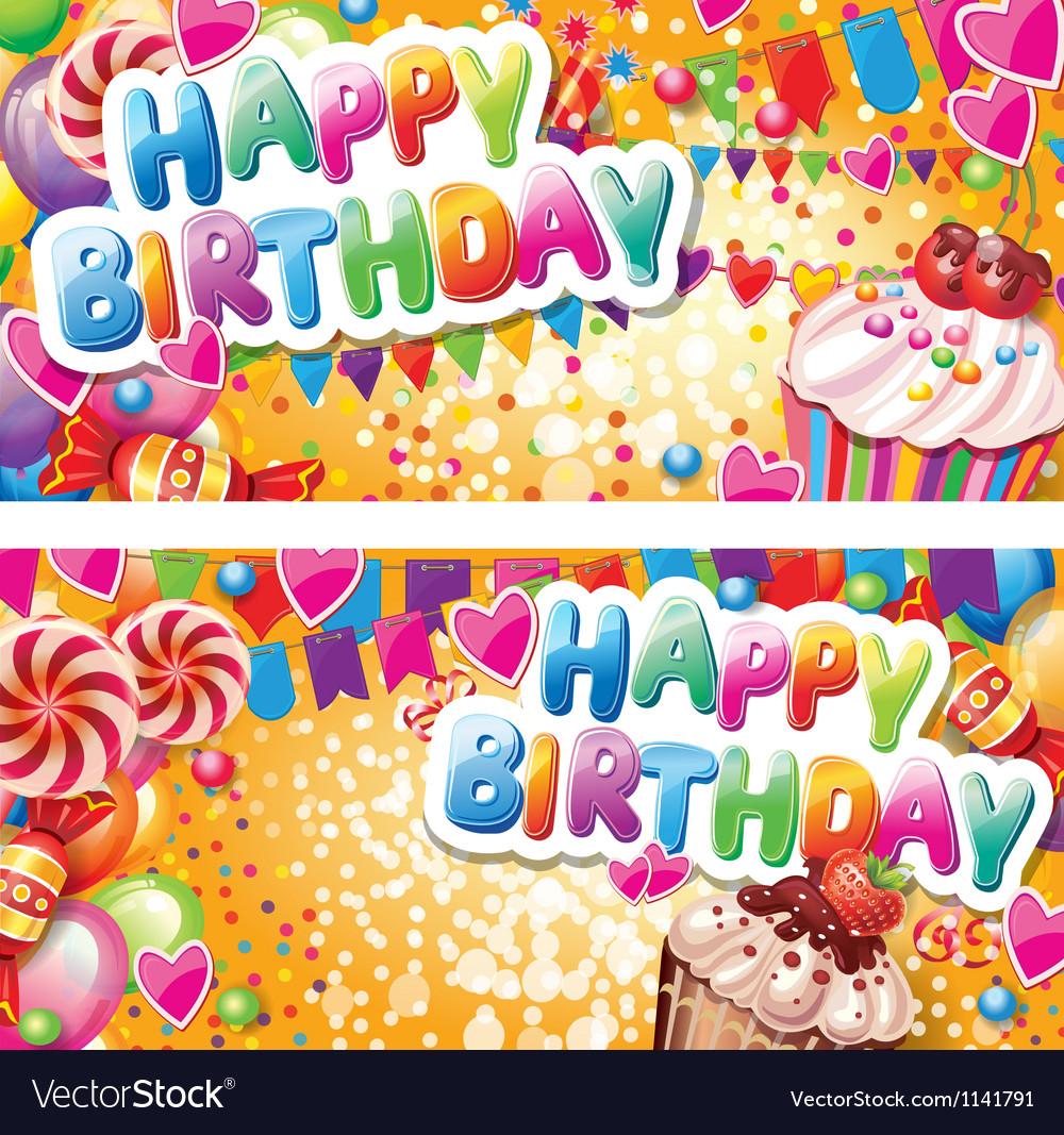 Happy birthday horizontal cards vector image