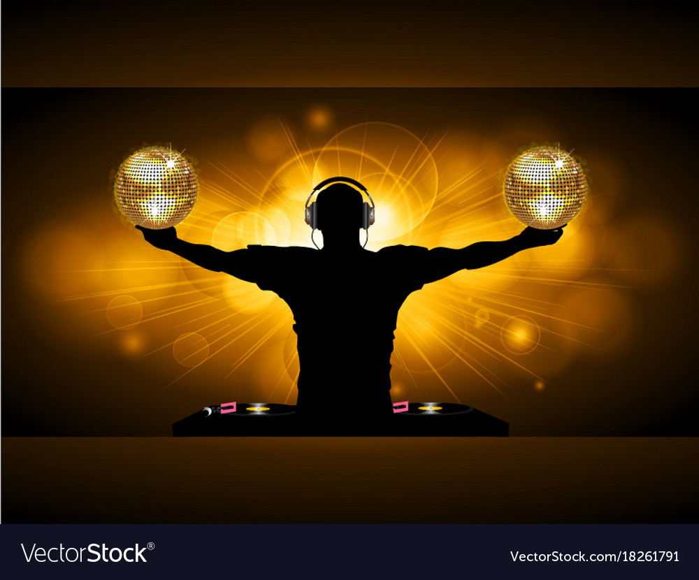 Dj with disco balls and records deck on glowing vector image
