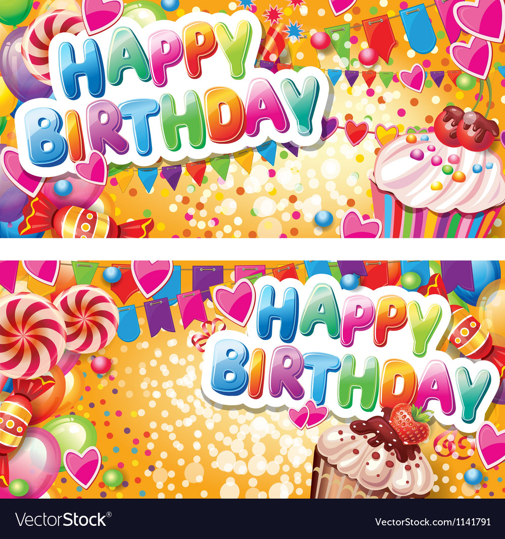 Happy birthday horizontal cards vector image