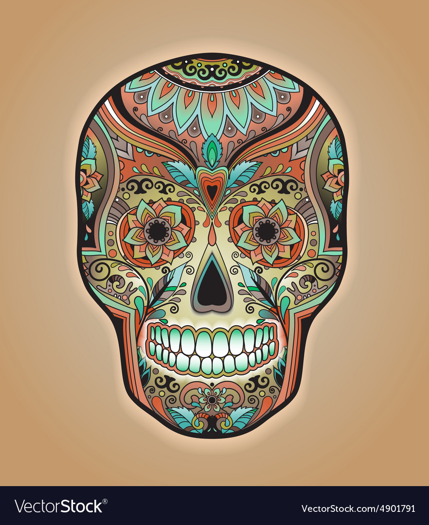 Print mexican traditional scull for T-shirt vector image