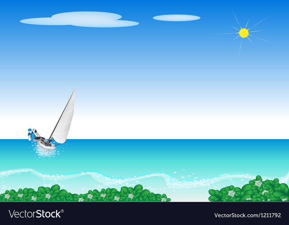 A Small Sail Boat Blasting Through A Sea vector image