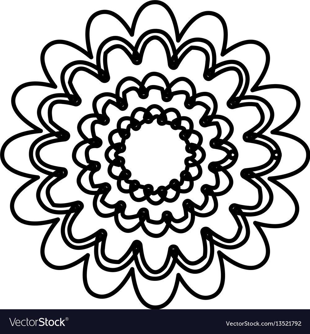 Figure flower with abstract petals icon vector image
