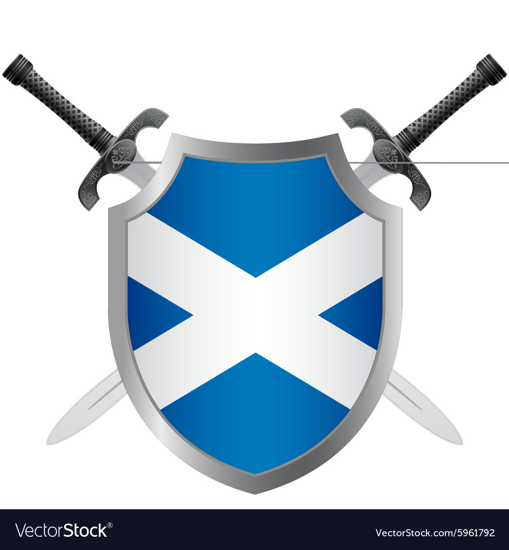 shield with flag of scotland royalty free vector image