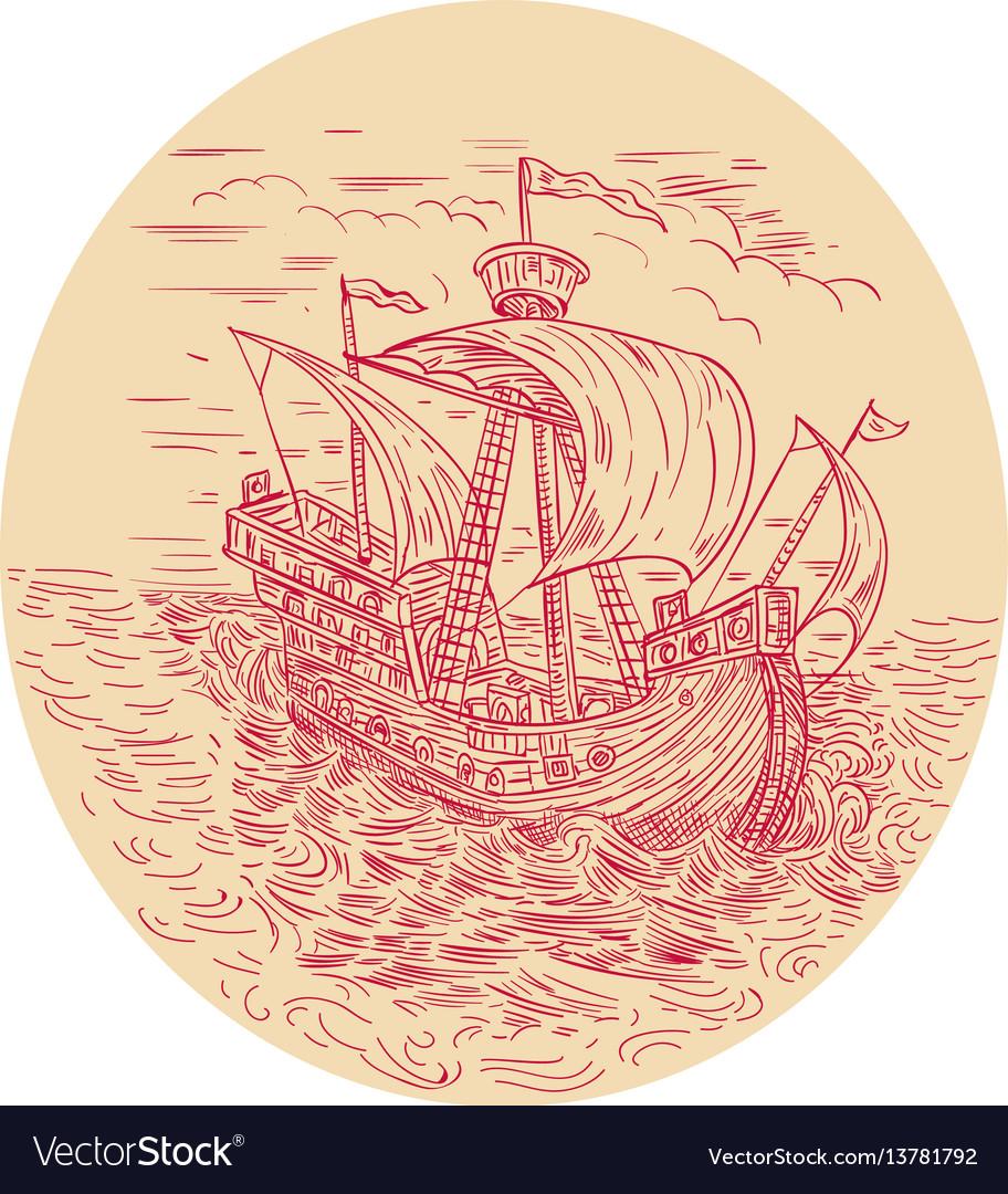 Tall ship sailing stormy sea oval drawing vector image