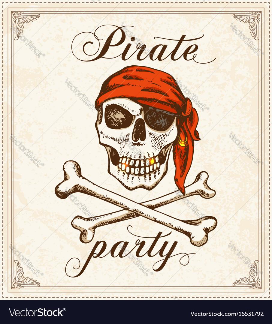Vintage pirate background vector image