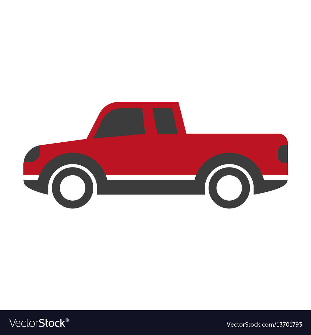 Red car pick up in cartoon style flat design vector image