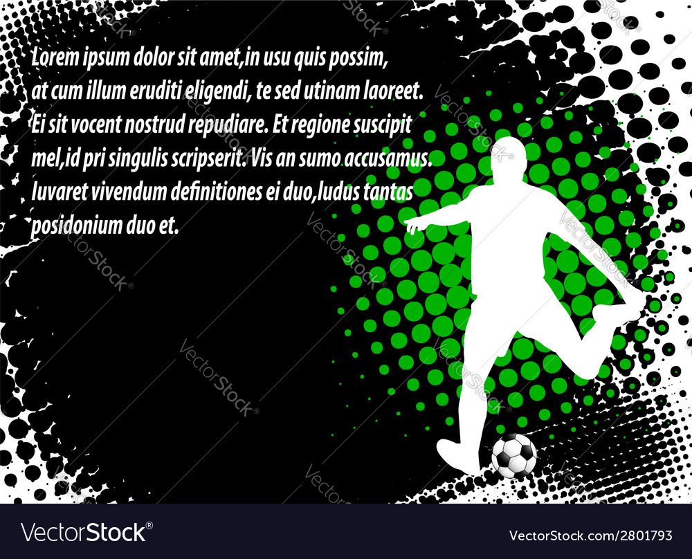 Soccer player - halftone background vector image