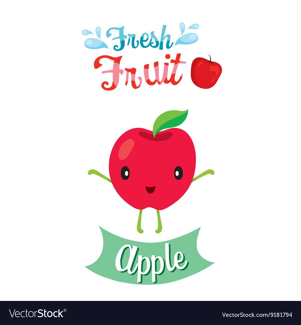 cute cartoon of apple fruit banner logo royalty free vector