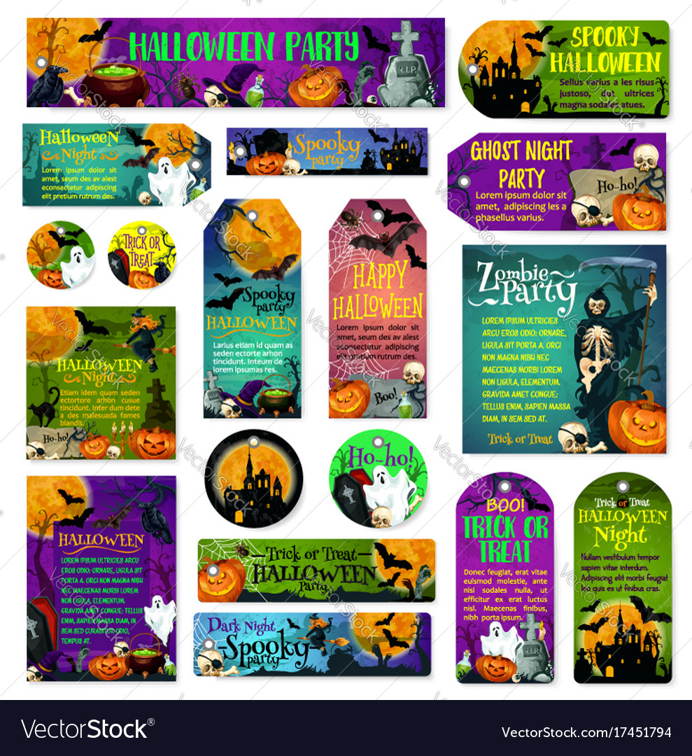 Halloween holiday trick treat greeting cards vector image m4hsunfo Choice Image