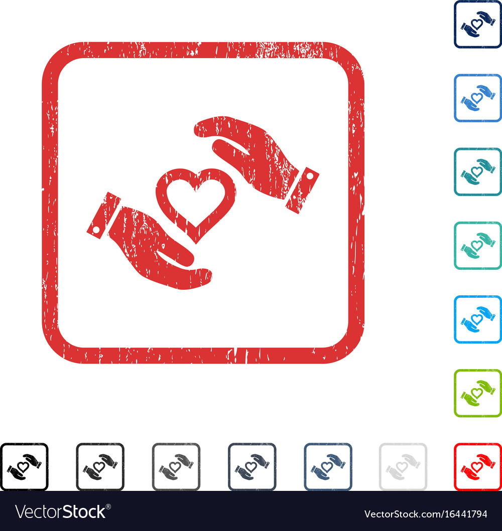 Love heart care hands icon rubber watermark vector image